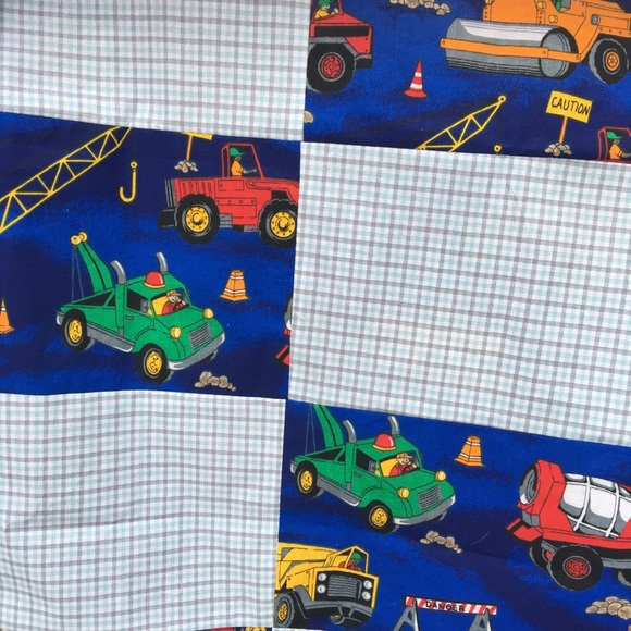 Quilt Topper Truck Theme Blue Gray Stripped Fabric